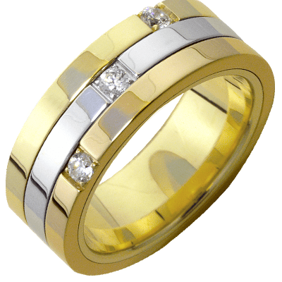 Bague tournante or blanc et or jaune 750 ‰  0,15 ct