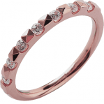 Alliance demi-tour or rose 750 ‰ sertie prisme 0,22 ct