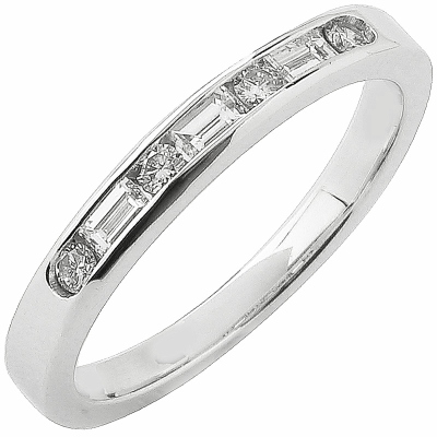 Alliance demi-tour or blanc 750 ‰ princesse & brillants 0,36 ct
