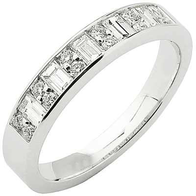 Alliance demi-tour or blanc 750 ‰ princesse & brillants 0,56 ct