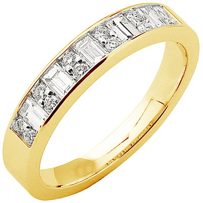 Alliance demi-tour or jaune 750 ‰ princesse & brillants 0,56 ct
