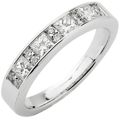 Alliance demi-tour or blanc 750 ‰ princesse & brillants 0,82 ct