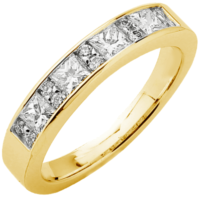 Alliance demi-tour or jaune 750 ‰ princesse & brillants 0,82 ct