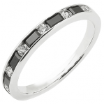 Alliance demi-tour or blanc 750 ‰ princesse & brillants 0,57 ct