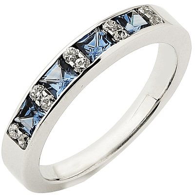 Alliance demi-tour or blanc 750 ‰ princesse & brillants 0,14 ct