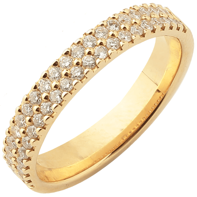 Bague multirangs or jaune 750 ‰  sertie griffes 0,50 ct