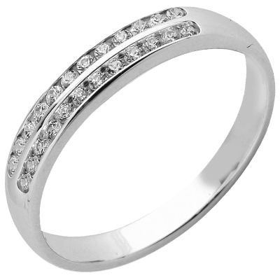 Bague multirangs or blanc 750 ‰  sertie rail 0,10 ct