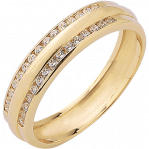 Bague multirangs or jaune 750 ‰  sertie rail 0,24 ct