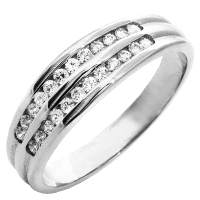 Bague multirangs or blanc 750 ‰  sertie rail 0,24 ct