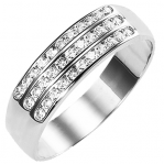Bague multirangs or blanc 750 ‰  sertie rail 0,30 ct