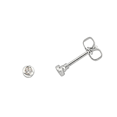 Boucles d'oreilles clou or blanc 750 ‰ serties clos 0,04 ct