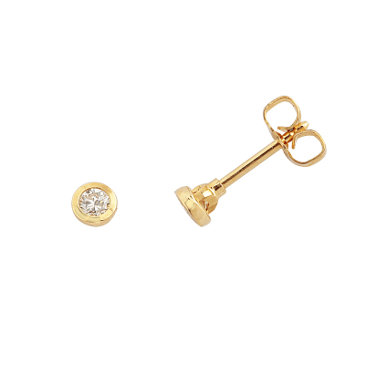 Boucles d'oreilles clou or jaune 750 ‰ serties clos 0,10 ct