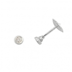 Boucles d'oreilles clou or blanc 750 ‰ serties clos 0,10 ct