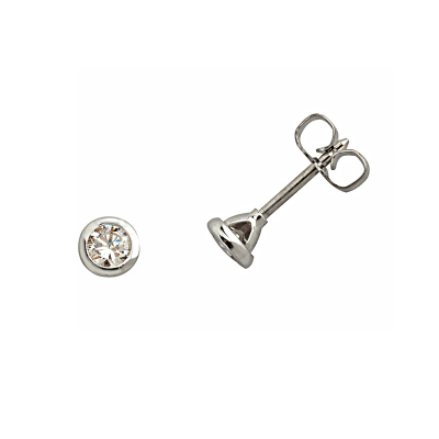 Boucles d'oreilles clou or blanc 750 ‰ serties clos 0,20 ct