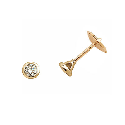 Boucles d'oreilles clou or jaune 750 ‰ serties clos 0,20 ct