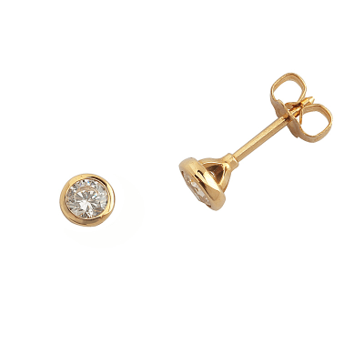 Boucles d'oreilles clou or jaune 750 ‰ serties clos 0,30 ct
