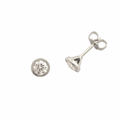 Boucles d'oreilles clou or blanc 750 ‰ serties clos 0,40 ct