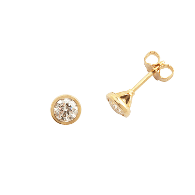 Boucles d'oreilles clou or jaune 750 ‰ serties clos 0,40 ct