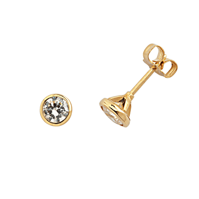 Boucles d'oreilles clou or jaune 750 ‰ serties clos 0,50 ct