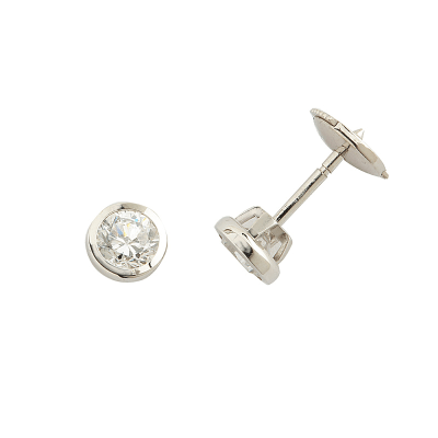 Boucles d'oreilles clou or blanc 750 ‰ serties clos 0,80 ct