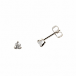 Boucles d'oreilles clou or blanc 750 ‰ serties 3 griffes 0,06 ct