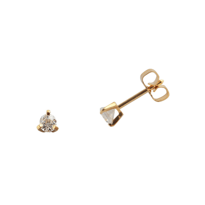Boucles d'oreilles clou or jaune 750 ‰ serties 3 griffes 0,06 ct