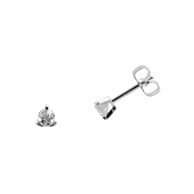 Boucles d'oreilles clou or blanc 750 ‰ serties 3 griffes 0,10 ct
