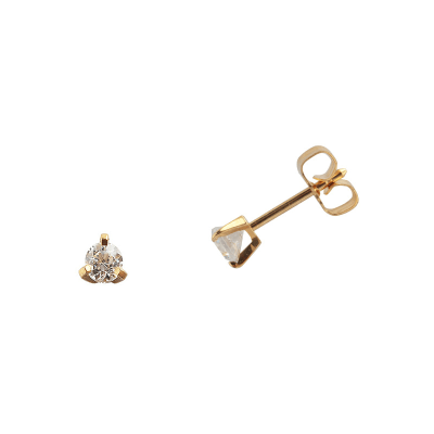 Boucles d'oreilles clou or jaune 750 ‰ serties 3 griffes 0,10 ct