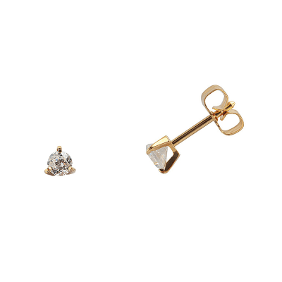 Boucles d'oreilles clou or jaune 750 ‰ serties 3 griffes 0,14 ct