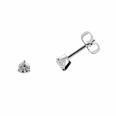 Boucles d'oreilles clou or blanc 750 ‰ serties 3 griffes 0,20 ct