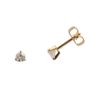 Boucles d'oreilles clou or jaune 750 ‰ serties 3 griffes 0,20 ct