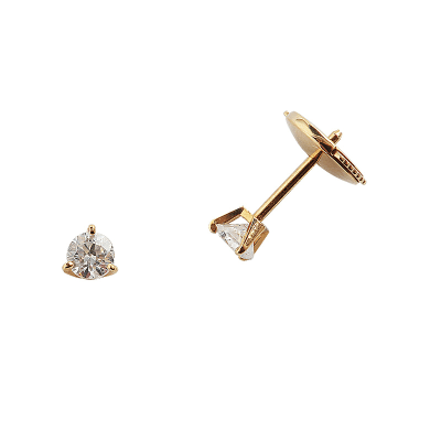 Boucles d'oreilles clou or jaune 750 ‰ serties 3 griffes 0,24 ct