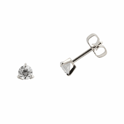 Boucles d'oreilles clou or blanc 750 ‰ serties 3 griffes 0,30 ct
