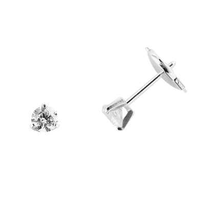 Boucles d'oreilles clou or blanc 750 ‰ serties 3 griffes 0,40 ct