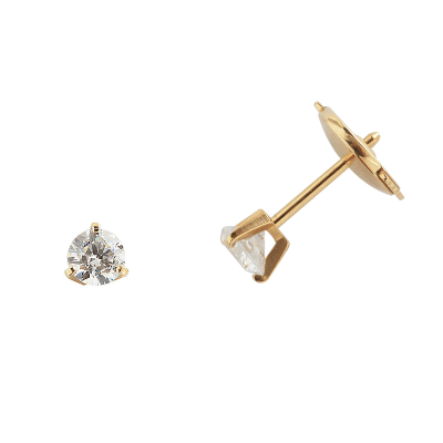 Boucles d'oreilles clou or jaune 750 ‰ serties 3 griffes 0,40 ct