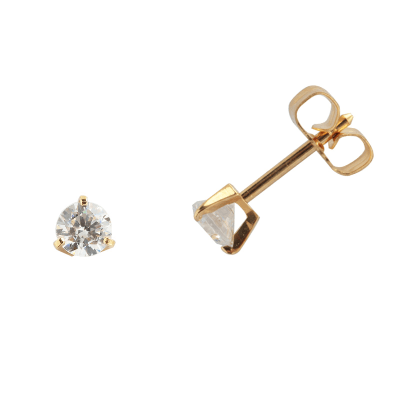 Boucles d'oreilles clou or jaune 750 ‰ serties 3 griffes 0,50 ct