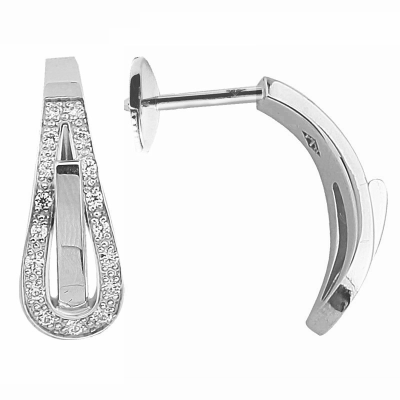 Boucles d'oreilles clou Serment d'amour or blanc 750 ‰  0,11 ct