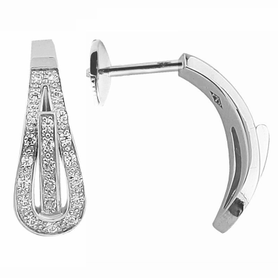 Boucles d'oreilles clou Serment d'amour or blanc 750 ‰  0,15 ct