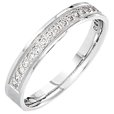 Bague pavé demi-tour or blanc 750 ‰  sertie grains 0,20 ct