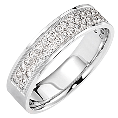 Bague pavé demi-tour or blanc 750 ‰  sertie grains 0,30 ct