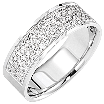 Bague pavé demi-tour or blanc 750 ‰  sertie grains 0,40 ct