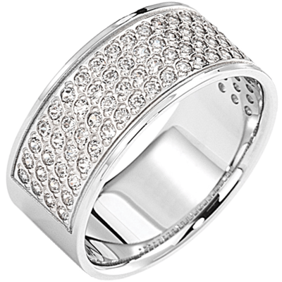 Bague pavé demi-tour or blanc 750 ‰  sertie grains 0,60 ct