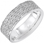 Bague pavé tour complet or blanc 750 ‰  sertie grains 1,98 ct