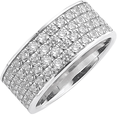 Bague pavé tour complet or blanc 750 ‰  sertie grains 2,64 ct