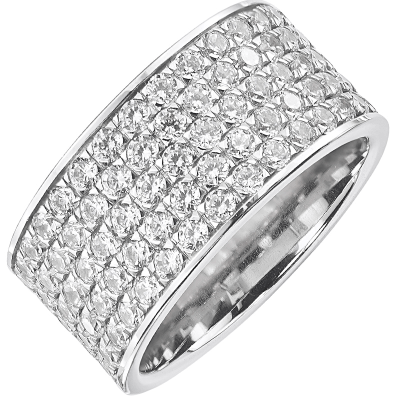 Bague pavé tour complet or blanc 750 ‰  sertie grains 3,30 ct
