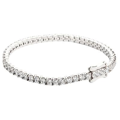 Bracelet souple or blanc 750 ‰ serti  griffes 5,40 ct