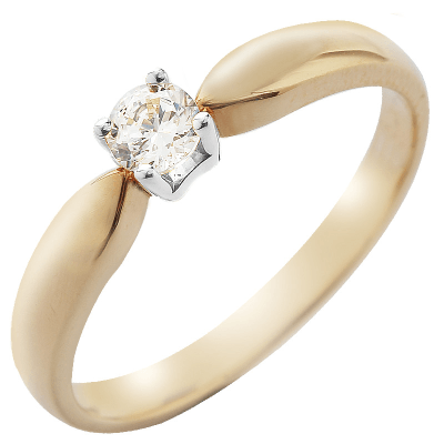 Solitaire or jaune et or blanc 750 ‰ serti griffes 0,15 ct