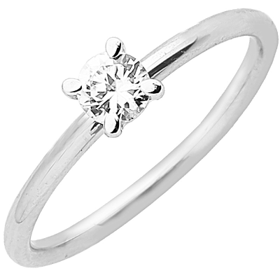 Solitaire or blanc 750 ‰ serti griffes 0,25 ct