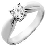 Solitaire or blanc 750 ‰ serti griffes 0,80 ct