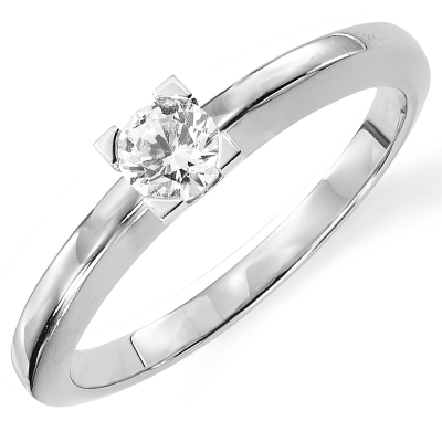 Solitaire or blanc 750 ‰ serti griffes 0,30 ct